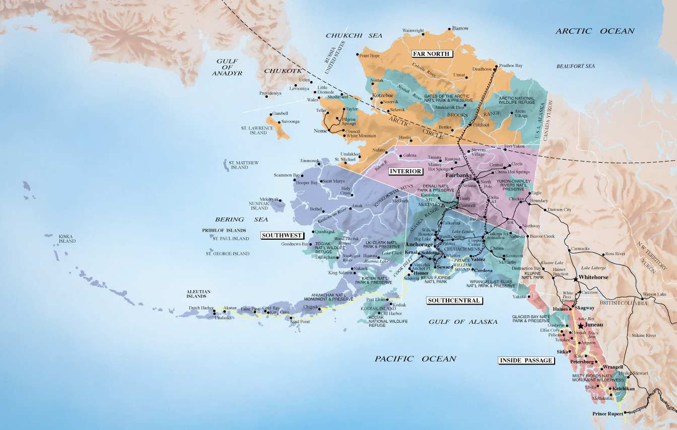 Alaska And Canada Port Of Call Destination Maps - Map of alaska and canada