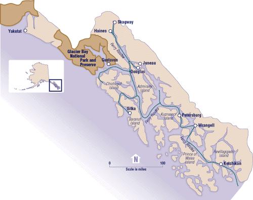 Alaska and Canada Port of Call Destination Maps
