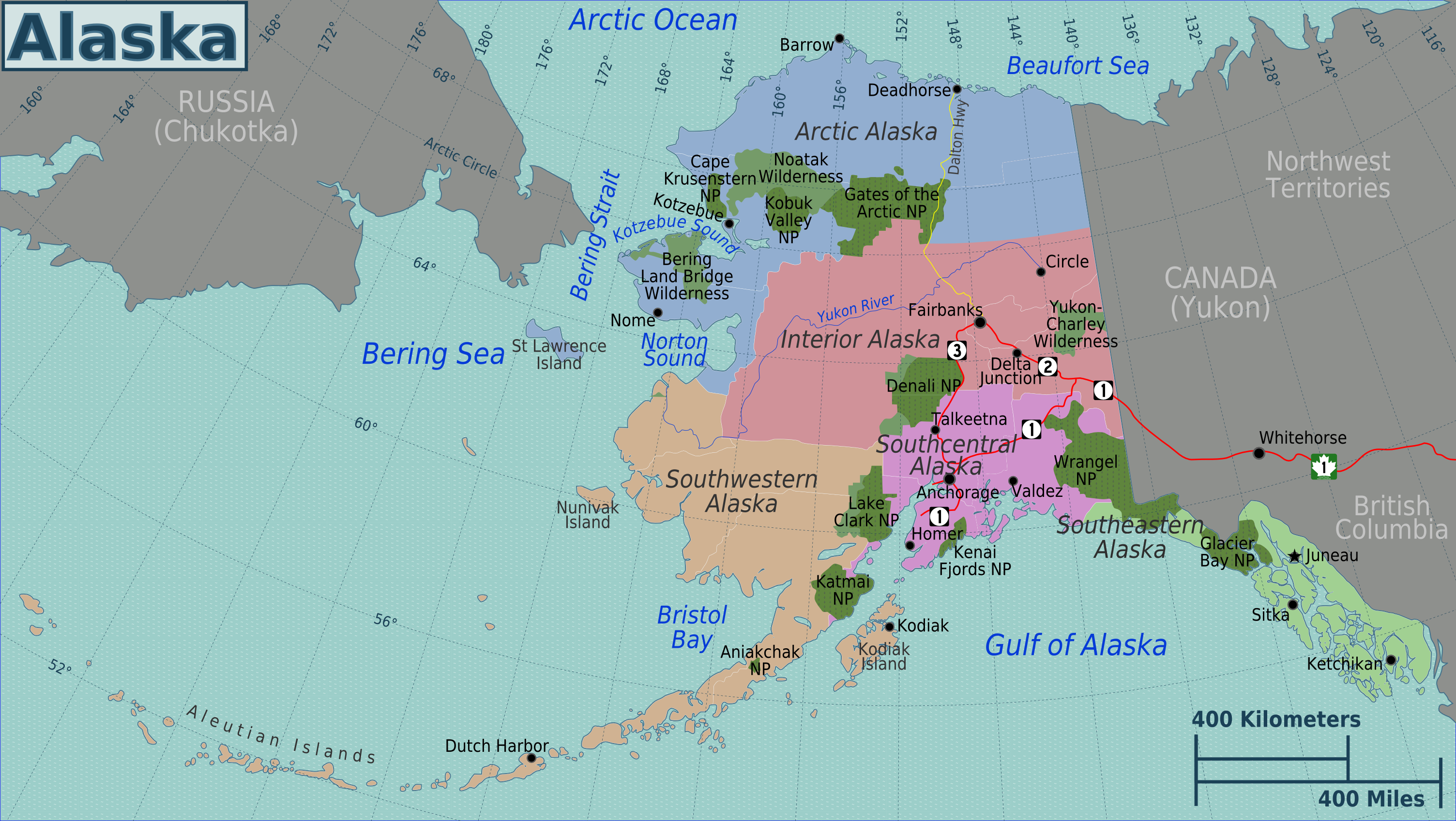 Alaska and Canada Port of Call Destination Maps