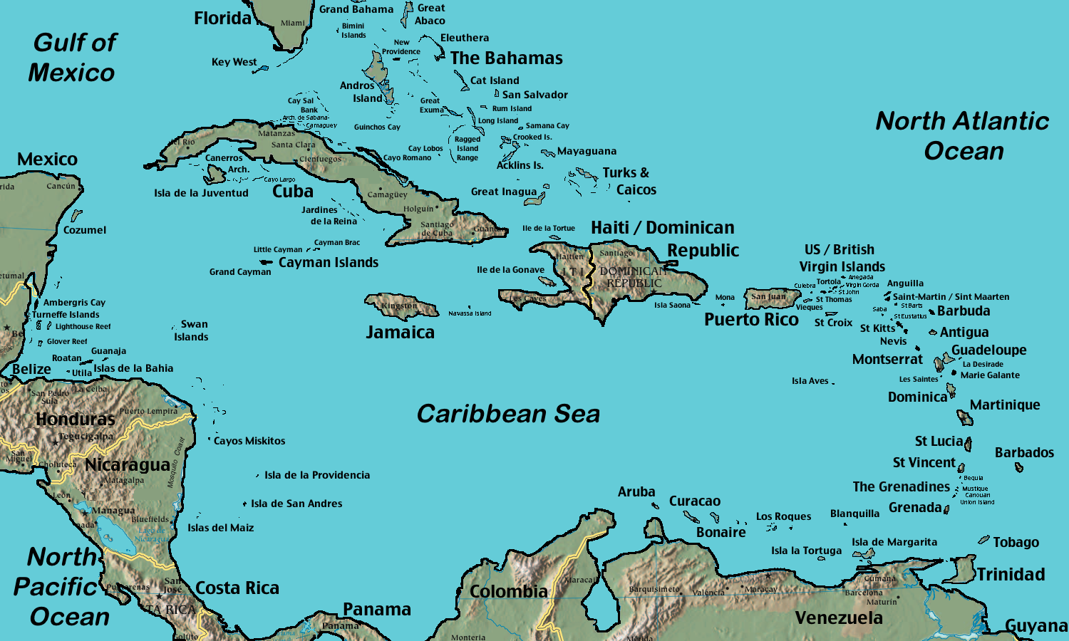 canada map carribean southern arae of